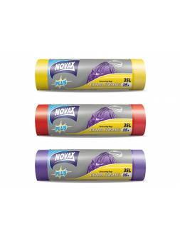 Пакеты для мусора 35л/15шт c затяжкой NV Plus (Материал / Цвет: LDPE / Фиолетовый . Размер единицы: 50 x 55 см.Толщина: 18 мкм) (NOVAX)