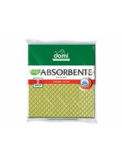 Салфетки губчатые 2 шт DOMI (Состав: целлюлоза-зеленя. Размер салфетки: 180х200х4мм)
