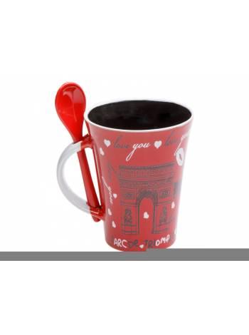 Кружка керамическая с ложкой, 280 мл, Французский поцелуй, красная, PERFECTO LINEA