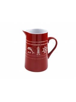 Кувшин керамический, 1050 мл, Морская история, красный, PERFECTO LINEA (Функционал+декор)