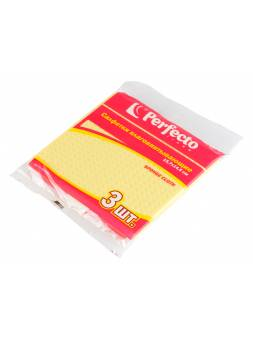 Салфетки влаговпитывающие, 3 шт., 15,7х14,5 см, целлюлоза, PERFECTO LINEA (Состав: целлюлоза: 93 %, синтетическая основа: 7 %.)