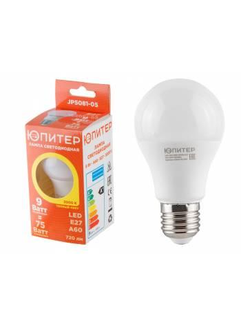Лампа светодиодная A60 СТАНДАРТ 9 Вт 170-240В E27 3000К ЮПИТЕР (75 Вт аналог лампы накал. 720Лм, теплый белый свет)
