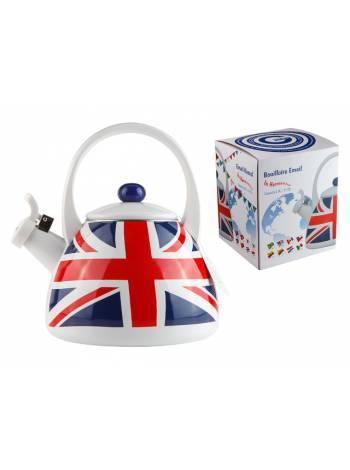 Чайник стальной эмалированный, 2.0 л, серия UK Flags (Британские флаги), GEIST (подходит для всех типов плит, включая индукцию)