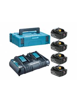 Комплект аккумулятор 18.0 В BL1850B 4 шт. + зарядное устройство DC18RD в кейсе (Набор BL1850B 18V 5,0 Ah 4 шт. + DC18RD) (MAKITA)