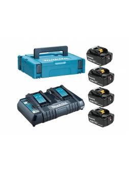 Комплект аккумулятор 18.0 В BL1840B 4 шт. + зарядное устройство DC18RD в кейсе (Набор BL1840B 18V 4,0 Ah 4 шт. + DC18RD) (MAKITA)