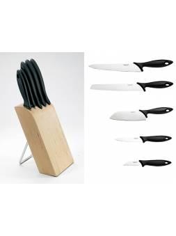 Набор ножей 5 шт. с деревянным блоком Essential Fiskars (FISKARS ДОМ)