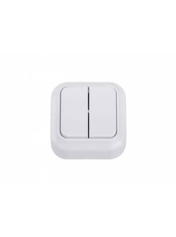 Выключатель 2 клав. (открытый, до 6А) белый, Вариант, Bylectrica (Выключатель  двухклавишный для открытой установки)