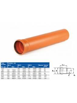 Труба канализационная наружная НПВХ SN2 160х3,2х1000 (ХЕМКОР)