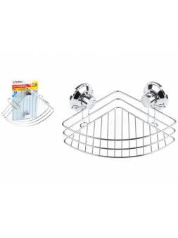 Полка для принадлежностей на вакуумных присосках, угловая, хром. сталь, FIX LOCK, PERFECTO LINEA (262x190x100 мм)