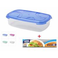 ПРОМО Контейнер пласт.прямоуг. 0.6л, с кр., Frigo Plus, DRINA + Пакетики для завтраков 50шт с клипс. (цвета в ассортименте)