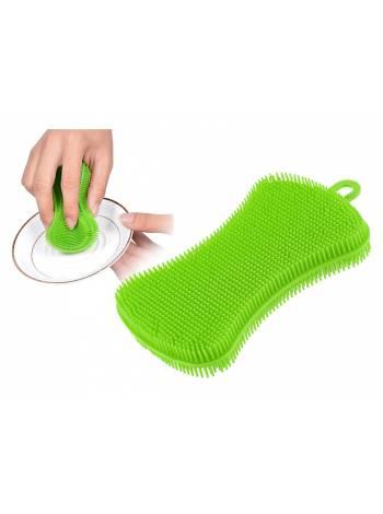 Губка-скраббер кухонная силиконовая зеленая, 12.0х7.0х1.6 см, PERFECTO LINEA