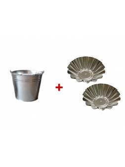 Ведро оцинкованное 9 л, СПЕЦТАРА + Форма для выпечки 2 шт. (диам.дна 70мм, диам.верха 163мм)