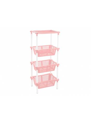 Этажерка Mommy love (Мамми лав) 4-х секционная, нежно-розовый, BEROSSI (Изделие из пластмассы. Размер 401 х 278 х 935 мм)
