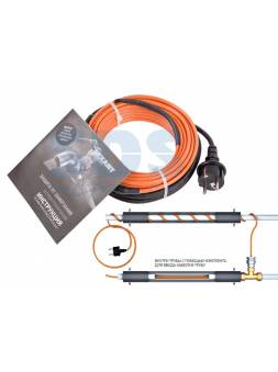 Греющий саморегулир. кабель в трубу 10HTM2-CT (8м/80Вт) (комплект) REXANT (Греющий саморегулирующийся кабель (комплект в трубу) 10HTM2-CT ( 8м/80Вт) R