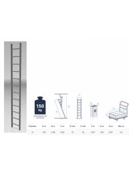 Лестница алюм. односекц. 316см 12 ступ., 5,2кг PRO STARTUL (ST9945-12)