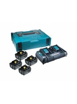 Комплект аккумулятор 18.0 В BL1860B 4 шт. + зарядное устройство DC18RC в кейсе (Набор BL1860B 18V 6,0 Ah 4 шт. + DC18RD) (MAKITA)