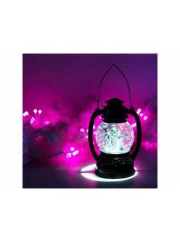 Декоративный фонарь с эффектом снегопада и подсветкой