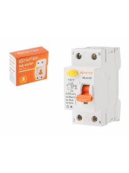Выключатель дифференциальный (УЗО) ВД-63/2P 25А 30мА 6кА тип AС ЮПИТЕР (электромеханический тип)