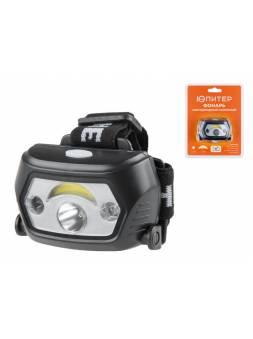 Фонарь налобный светодиодный аккум. 1Вт+1Вт ЮПИТЕР (ИК-сенсор, USB-кабель)